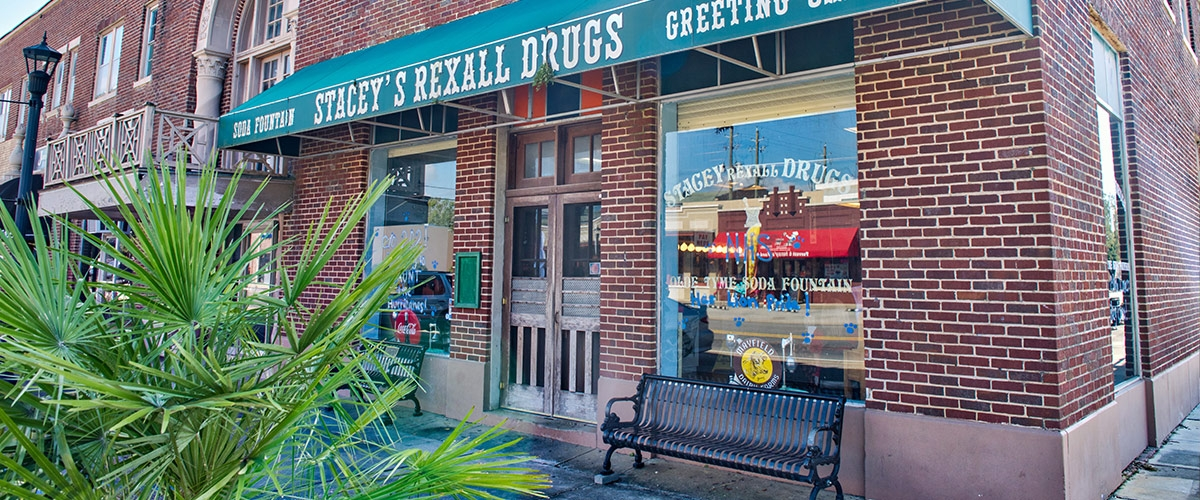 Outside shot of Stacey's Recall Drugs store