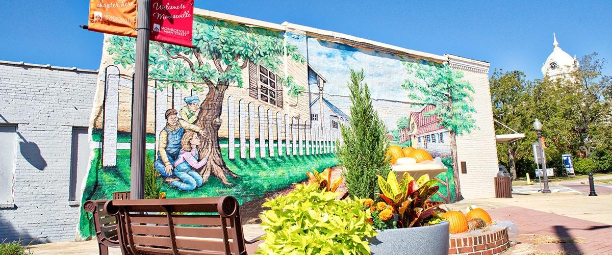 Outside shot of building mural